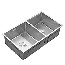 AuraLum Bar Double Bowl Sink, 30-inch Brushed Stainless Steel Undermount Kitchen with Overflow and Drain Kit, 3/4-inch Radius Corners