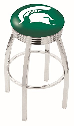 "Logo Series Bar Stool NCAA Team: Michigan State University, Size: 25"", Frame Type: Solid Welded Black"