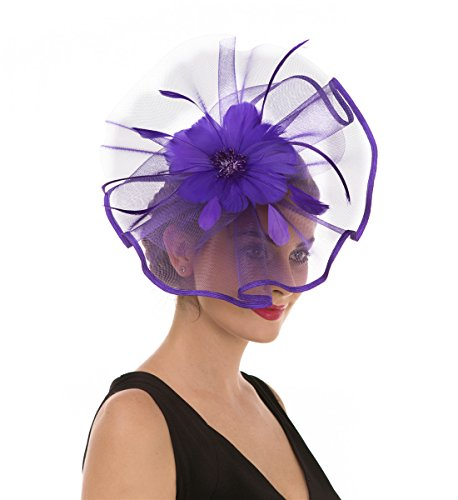 SAFERIN Fascinator Hat Feather Mesh Net Veil Anniversary Cocktail Party Hat Flower Derby Hat with Clip and Hairband for Women (TA1-Purple)