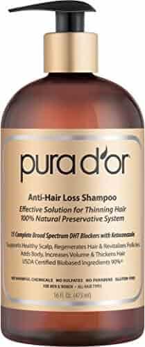PURA D'OR Anti-Hair Loss Premium Organic Argan Oil Shampoo (Gold Label), 16 Fluid Ounce