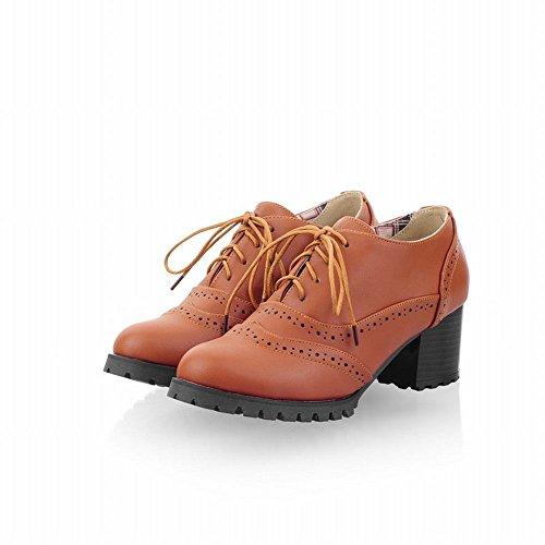 Carol Scarpe Moda Donna Stile Britannico Stringate Stringate Scarpe Oxford Tacco Alto Marrone