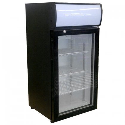Beverage-Air CTF3-1-B-LED One Section Countertop Reach-In Display Freezer with 1 Swing Glass Door 3 cu.ft. Capacity Black Exterior and Top Mounted -