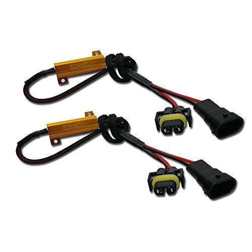 AnyCar H11 Led Canbus Decoder, H9 H8 Fog Light Bulbs Led Resistor H11 Anti Flicker Harness