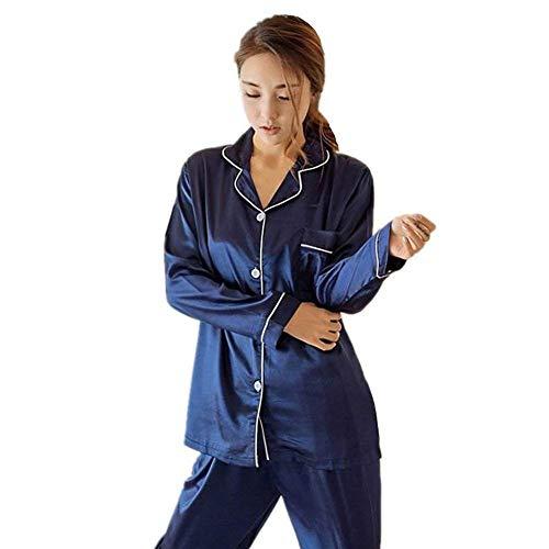 Pijamas Mujer Pijama El Otoño Dormir Manga Casual Hogar Camison Largos Primavera Impreso De Pantalones Redondo Moda Larga Ropa Elegante Cuello Blau Modernas Para Conjunto rrSqdw