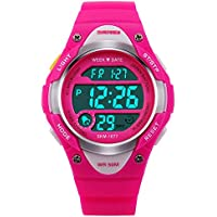 V2A Kids Pink LED Backlight Waterproof Digital Sports Casual Watch For Boys And Girls