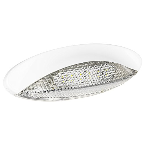[LED Euro Style RV Porch Light - White Cover and Clear Lens - Enjoy Clear, Bright Nights With This Low Profile Oval Porch Light] (Fontana Cover)