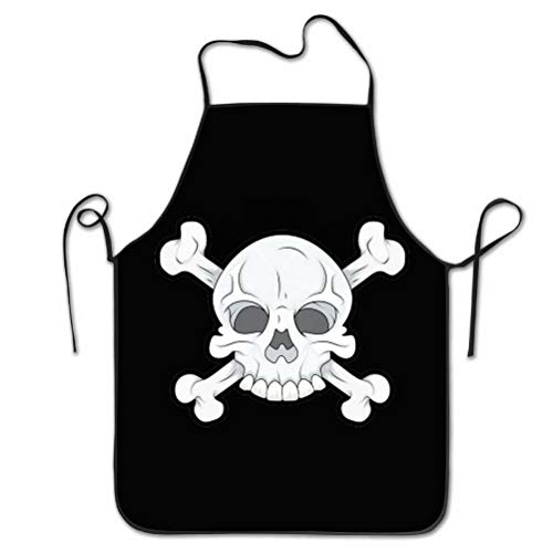 Remain Unique Aprons Halloween Party Cool Skull Skeleton Apron for Cooking Gardening Waterproof Bib BBQ Unisex Durable Creative Standar Uniform Size Pinafore ()