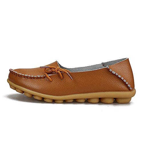 KEESKY Damen Leder Loafers Aushöhlen Casual Slip On Driving Schuhe 03 Braun
