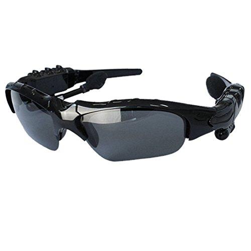 Fashion Sunglasses Bluetooth Headset, Ecsem® Sports Stereo Bluetooth Sun Glasses Headphones with Mic Handsfree for Smart Phone iPhone Samsung HTC (Usual Black)