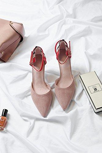 Vino Altos Tacón Sandalias de Color Alto Rosado Fino de los de de 5CM Mujeres de 6 de Mujer de Tacones Punta Zapato único Mujer tacón Zapatos tacón Baotou Rosado 39 luz Copas Zapatos tamaño SZ6F6