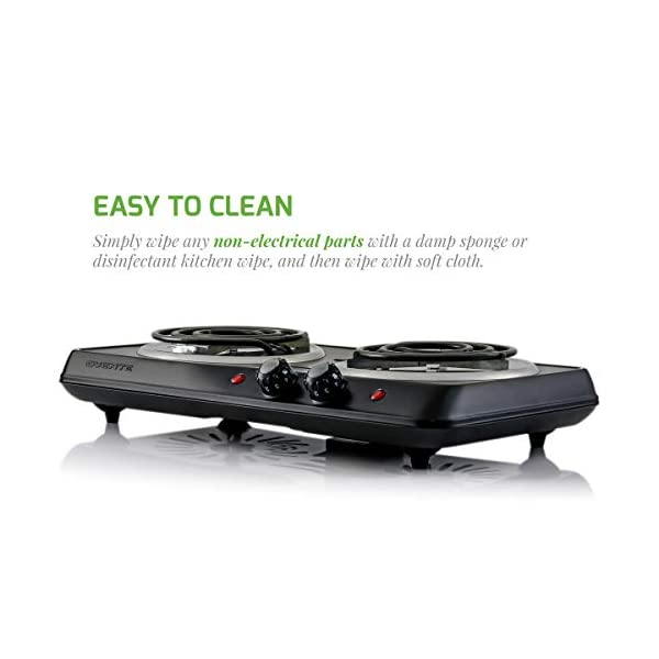 Ovente 5.7 & 6 Inch Double Hot Plate Electric Coil Stove, Portable 1700 Watt Cooktop Countertop Kitchen Burner with… 7