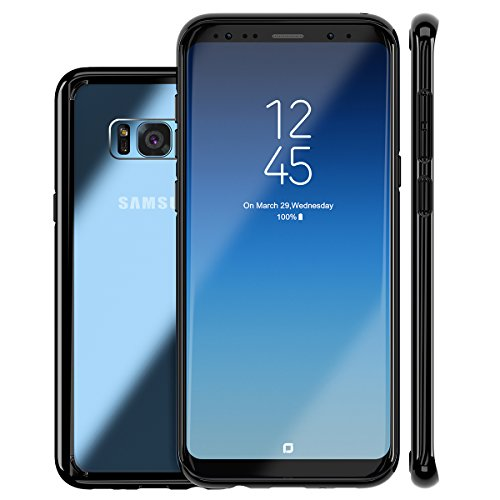 ROYBENS Galaxy S8 Plus Case, Clear Hybrid Hard Back and Slim Thin Excellent Grip Flexible Soft Silicone Gel Bumper Shockproof Full Body Protection Cover for Galaxy S8 Plus - Black Edge (Samsung Galaxy S7 Edge Clear View Case Review)