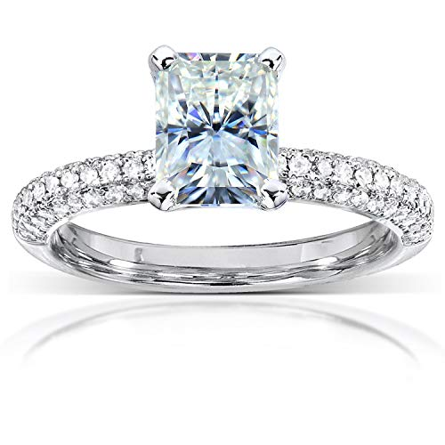 (Radiant-cut Moissanite and Micro-Pave Diamond Engagement Ring 2 Carat (ctw) in 14k White Gold )