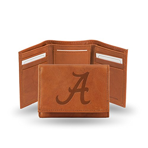 Rico Industries NCAA Alabama Crimson Tide Embossed Leather Trifold Wallet, Tan (Roll Tide Purse)