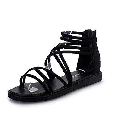 LvYuan Mujer-Tacón Plano-Confort Anillo Frontal-Sandalias-Vestido Informal-Vellón-Negro Gris Black