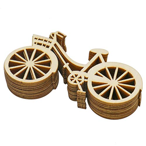 Buorsa 10 Pcs Wooden Bicycle Ornaments Bike Cutout Veneers Slices Crafts for DIY Crafting Ornament Decoration (Wooden Veneer)