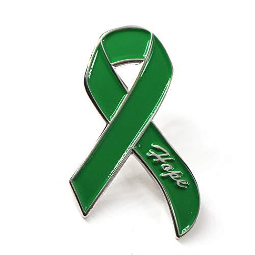 "DANXYN 1 3/4"" Green Awareness Ribbon Pin, Depression Awareness Pin, Cerebral Palsy Awareness Pin, Organ Donation Awareness Pin,Liver Cancer Pin, Kidney Cancer Awareness Pin,Mental Health Awareness Pin"