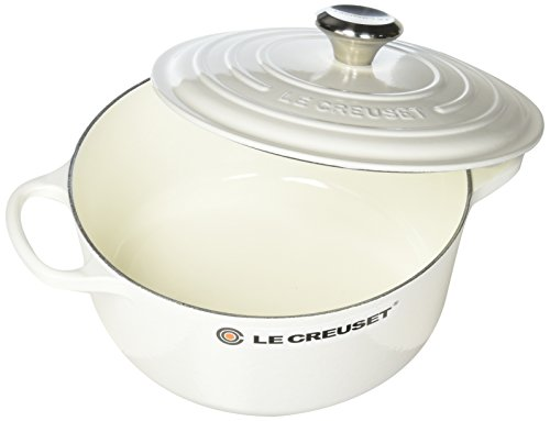 Le Creuset LS2501-2416SS Enameled Cast Iron 4.5 quart Signature Round Dutch Oven, White (Best Size Le Creuset Dutch Oven)