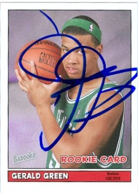 - Autograph Warehouse 44882 Gerald Green Autographed Basketball Card Boston Celtics 2005 Topps Bazooka No .197