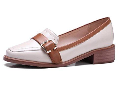 zapatos escogen UK4 tacón CN36 EU36 y cuadrada zapatos cabeza con primavera de gruesos la otoño zapatos bajo de Sra boca baja US6 de los La UgxIg