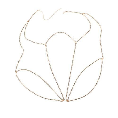 Bingirl Women Sexy Luxury Rhinestone Bikini Leg Body Chain Unique Waist Thigh Chains Jewelry (Gold)
