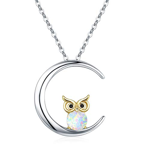 Owl Moon Pendant Necklace Opal Synthetic Sterling Silver Jewelry for Women Sisters Friends ()