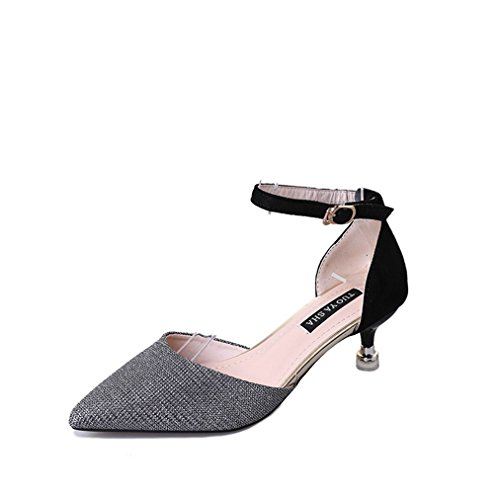 Stilettos Silvery Heel Pumps Close Sandals Shoes Sparkle Buckle Dressy T Ankle Glitter JULY Toe Sequins with Strap Womens wTwxq7ZHO
