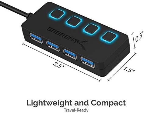 Sabrent 4-Port USB 3.0 Hub with Individual LED Power Switches | 2 Ft Cable | Slim & Portable | for Mac & PC (HB-UM43) 41SNTwE 1gL