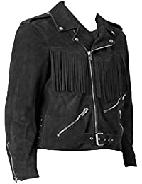 Men's Western Cowboy Brando Suede Leather Jacket Black