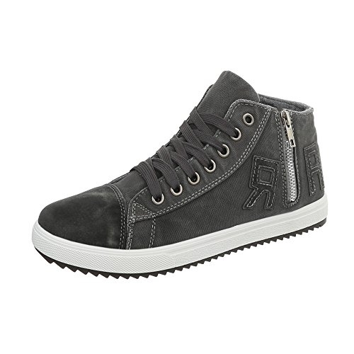 Ital-Design Damenschuhe Herrenschue Unisex High Top Sneakers Freizeitschuhe Sportschuhe Grau N-10-1