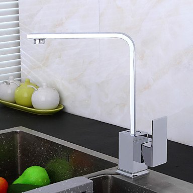 High Arc Deck Mounted Waterfall with Ceramic Valve Single Handle One Hole for Chrome Kitchen faucet by ZHENG