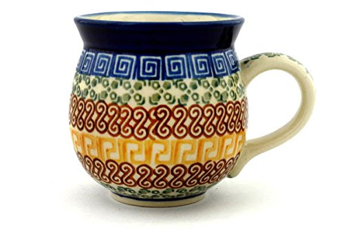 (Polmedia Polish Pottery 12 oz Stoneware Bubble Mug H3111B Hand Painted from Ceramika Artystyczna in Boleslawiec Poland. Shape S115B(070) Pattern P0253A(50X))