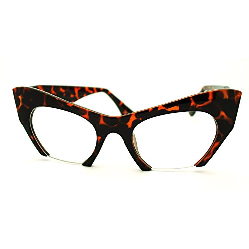 AStyles - Semi Rimless Cut Off Bottom Razor Clear Lens Cat Eye Glasses (Brown, - Eye Semi Eyeglasses Rimless Cat