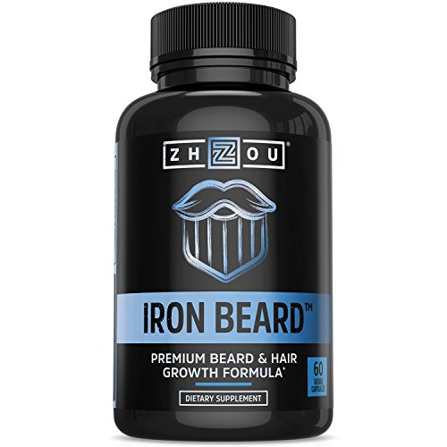 IRON BEARD Beard Growth Vitamin Supplement for Men - Fuller, Thicker, Manlier Hair Growth - 18 Essential Vitamins, Minerals & Proteins - Biotin, Collagen, Saw Palmetto & More - 60 Capsules ()