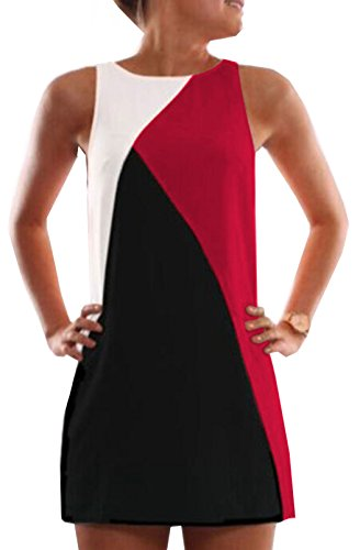 Senza Maniche Vestiti Rotondo Canotte Colore Cucitura Vestito Mini OUFour da Estivo Rosso Partito Moda Spiaggia Abito Donne Collo da FWYfR