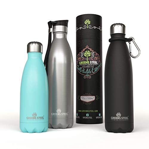 - Stainless Steel Water Bottle - 12 oz Vacuum Insulated Double Wall with Push Lid/Leak Proof Thermal Travel Sports Flask Coffee Canteen/Cola Shape Bonus Value Bundle - 12 oz Black