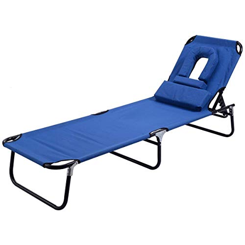 Goplus Folding Chaise Lounge Chair Reclining Adjustable Outdoor Patio Beach Camping Recliner w/Hole for Face Pool Yard (Blue)