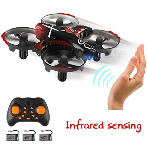 Price comparison product image Inkpot T2G Mini Drone with Gesture Control RC Quadcopter Avoiding Obstacles Nano RC Inteactive Drone with 3 Batteries, 3 in 1 USB Cable, Altitude Hold, Easier to Control for Beginner (Black)