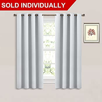 bedroom curtain colors. Room Darkening Curtain Window Panel  Greyish White Silver Grey Color Solid Thermal Amazon com NICETOWN Panels