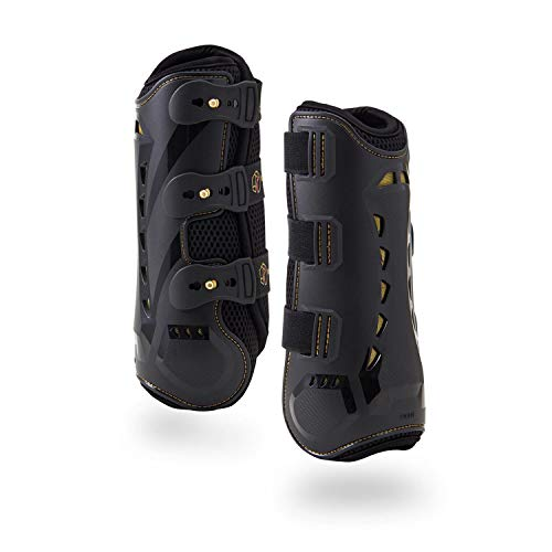 Dressage Boots for Horses by Kavallerie: Pro-K 3D Air-Mesh Horse Boots, Secure Leg Protection, Lightweight and Tough White & Black Dressage Sports Boots - Horse Boots Dressage