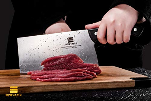 Cleaver knife 7 inch Meat Cleaver Chinese Vegetables Knife imported high-carbon German Stainless Steel Kitchen Knife with Ergonomic Handle Chinese Chef Knife Multipurpose Use for Cook Kitchen