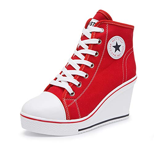Nesyd Women's Sneaker High-Heeled Canvas Shoes High-Top Wedge Sneakers Platform Lace up Side Zipper Pump Fashion Sneakers (10 B(M) US, Red)