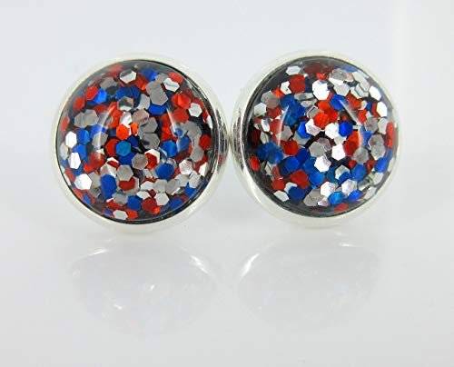 649e65a03 Silver-tone Patriotic Glitter Resin Stud Earrings 12mm $13.99
