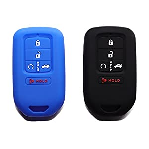 (Pack of 2) Blue Black Protective Silicone Fob Pocket Remote Key Cover Black Color Case with 5 Buttons for 2015 2016 2017 Honda Civic Accord Pilot CR-V Smart Key Blue Black