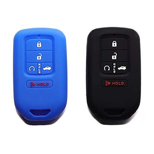 Pca Cover - (Pack of 2) Blue Black Protective Silicone Fob Pocket Remote Key Cover Black Color Case with 5 Buttons for 2015 2016 2017 Honda Civic Accord Pilot CR-V Smart Key Blue Black