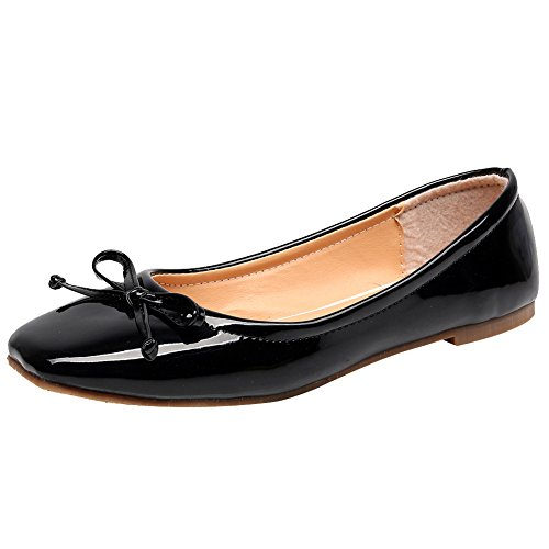 Jamron Women Soft Patent PU Leather Leisure Dolly Shoes Lightweight Water-Resistant Ballerinas with Lovely Bowknot Black SN02911 (Black Patent Leather Ballerina)