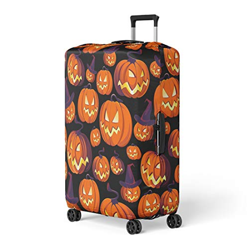 Pinbeam Luggage Cover Colorful Aggression Halloween Pattern Pumpkins on Orange Anger Travel Suitcase Cover Protector Baggage Case Fits 18-22 -