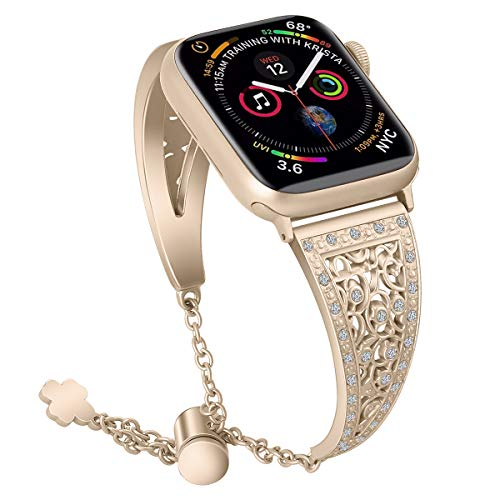 oceBeec Bling Bands Compatible with Apple Watch Band 38mm 40mm, Women Stainless Steel Metal Jewelry Bracelet Bangle Wristband for Iwatch Series 4/3/2/1 (Champagne Gold-38mm/40mm)