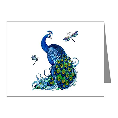 CafePress - Blue Peacock And Dragonflies Note Cards - Blank Note Cards (Pack of 20) - Note Dragonfly Blue