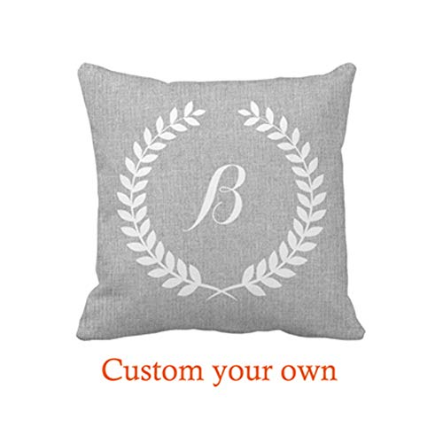 Automaket Monogramed Light Gray Linen and White Floral Wreath Throw Pillow Cover Case 16 x 16inches(40 x 40cm) Home Decorative Cushion Cover for Couch -
